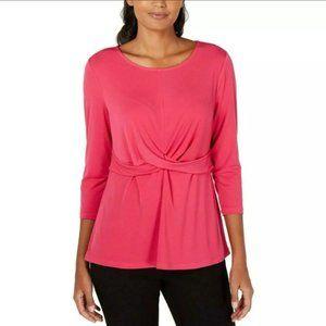 NWT Alfani Stretch Crossover Wrap Top Pink 2X